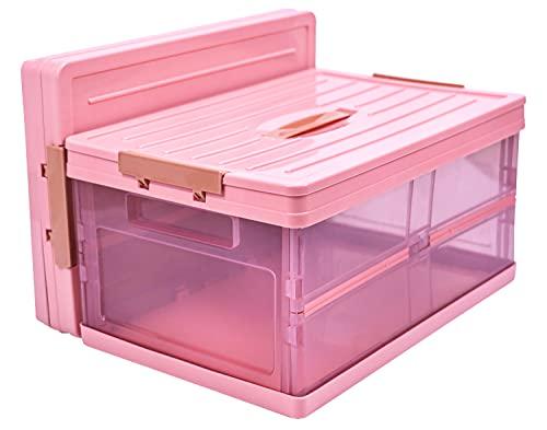 Sulmoe Aufbewahrungsbox mit henkel und deckel, stapelbare kinder Faltboxen ,hochwertiger Kunststoff BPA-frei Sicherheit.(Rosa, 30L)