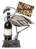 BRUBAKER Weinflaschenhalter Flamingo - Deko-Objekt Metall - Flaschenständer mit Grußkarte