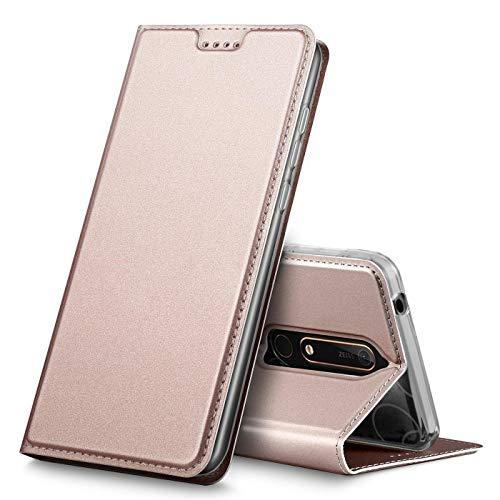 Verco Handyhülle für Nokia 6.1, Premium Handy Flip Cover für Nokia 6.1 Hülle [integr. Magnet] Book Hülle PU Leder Tasche [Nokia 6 2018], Rosegold