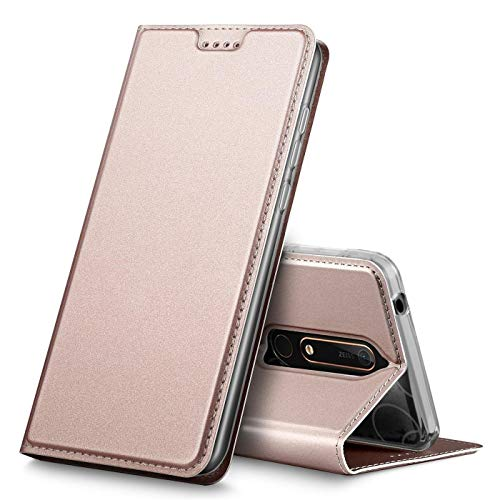 Verco Etui pour Nokia Nokia 6.1, Coque Pochette Portefeuille pour Housse Nokia Nokia 6.1 avec Magnétique Fonction Wallet - Rose