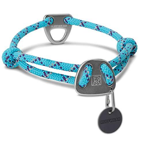 Ruffwear Seil-Halsband für Hunde, Mittelgroße Hunderassen, Größenverstellbar, Reflektorstreifen, Größe: M (36-51 cm), Hellblau (Blue Atoll), Knot-a-Collar