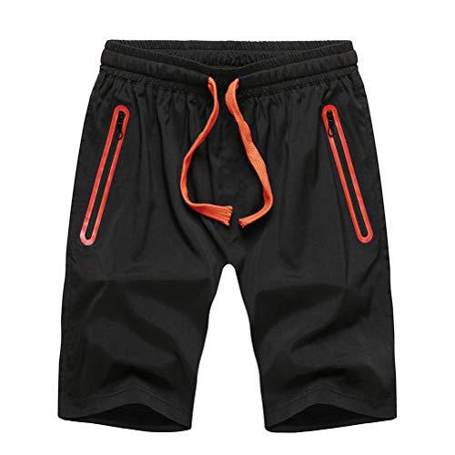 Whittie Short De Sport à Séchage Rapide pour Hommes Pantalon Décontracté à Cinq Points Poche à Fermeture éclair Pantalon Court Respirant,Orange,XL