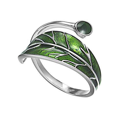 Mcottage Sterling Silver Olive Tree Ring Adjustable Wrap Open Ring Fashion Jewelry Gift for Women Girl