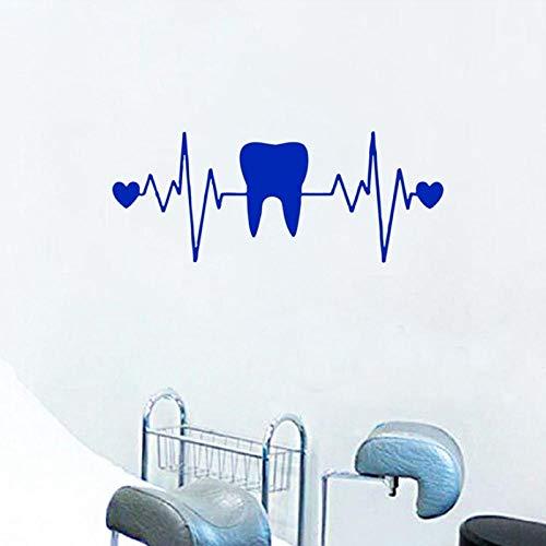 artaslf Dientes Odontología Pegatinas de pared Corazón ECG Vinilo Tatuajes de pared Dentista Clínica dental Decoración Papel tapiz de dientes Decoración de baño 57x22cm