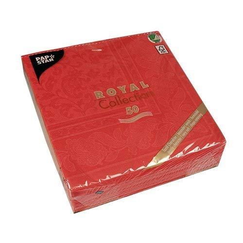 Papstar 11667 - Tovaglioli Royal Collection, 50 Pezzi, piegati a 1/4, 40 x 40 cm, Decorati, Colore: Rosso