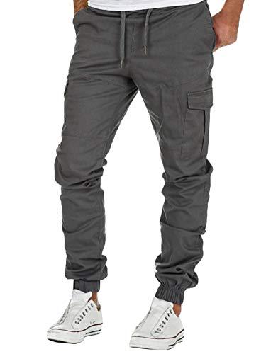 Minetom Pantalon Cargo Slim Homme Casual Été Pantalons Jogging Multi Poche Cordon De Serrage Baggy Style Pants Gris X-Large