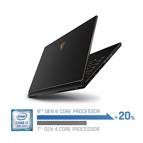 Product Image 6: MSI GS65 Stealth-002 15.6″ Razor Thin Bezel Gaming Laptop NVIDIA RTX 2070 8G Max-Q, 144Hz 7ms, Intel i7-8750H (6 cores), 32GB, 512GB NVMe SSD, TB3, Per Key RGB, Win 10, Matte Black w/ Gold Diamond cut