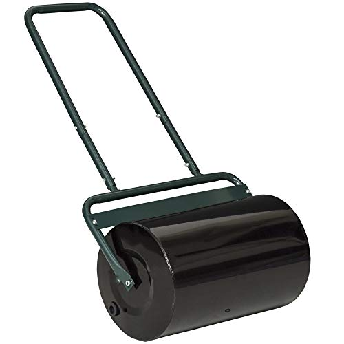 Outsunny 20-Inch Push/Tow Behind Lawn Roller Filled w/ 10 Gal Water for Garden, Yard, Dark Green