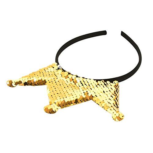 Oblique-Unique® Haarreifen mit Krone und Pailletten mit Glitzereffekt Prinzessin Königin - Farbe wählbar - (Gold)
