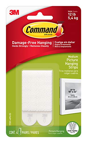 Command 17201-4pk Medium Picture Hanging Strips, 4 X 2 - White