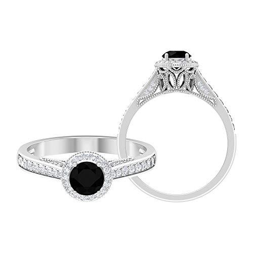 Anillo de diamante negro solitario de 5 MM, Anillo de halo de diamantes HI-SI, Anillo solitario con piedras laterales, Anillo de corona de oro, 14K Oro blanco, DIAMANTE NEGRO REDONDO, Size:EU 44