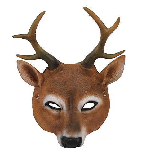 Amosfun Halloween Rentier Maske Kostüm Prop Maske Maskerade Cosplay Party Vollgesichtsmaske (Geweih) für Halloween Party Supplies