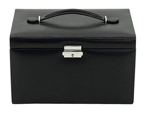 Friedrich23 Schmuckkoffer – Schmuckkasten Classico aus Leder in schwarz - 3 Schubfächer, 2 Abdeckkissen, Spiegel