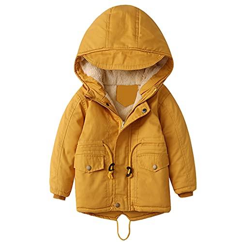 L SERVER Winterjacke für Jungen und Mädchen,warm Hoodie Outfits Dicke Mantel Baby Wintermäntel,Gelb(Verdickung),122-128