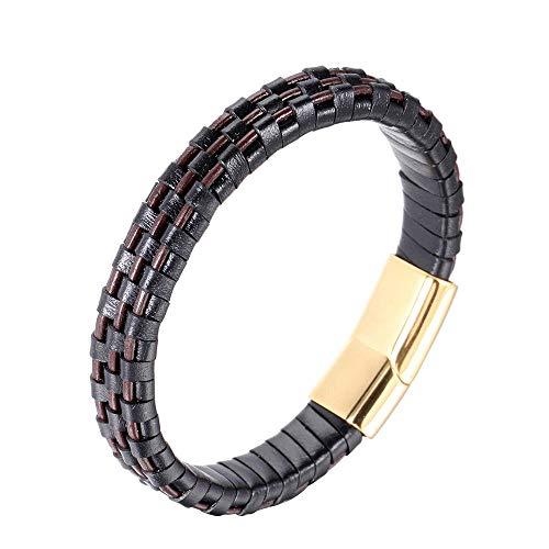 POQW Pulsera de oro con cierre magnético simple para hombre, joyería de acero titanio retro moda deportes y ocio pulseras personalizadas de cuero con caja de regalo