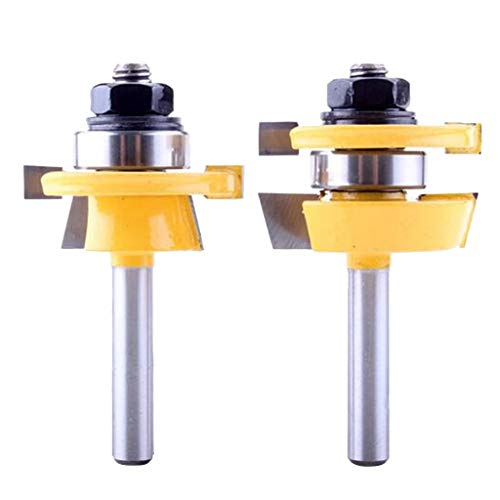perfk 2Pcs 8mm Shank Tongue And Groove Router Bit Wood Milling Cutter