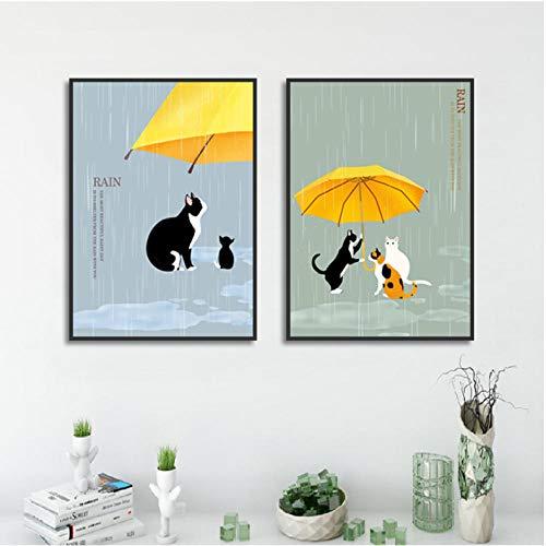 Cartoon Dier Poster met Paraplu Print Canvas Schilderij Beeld Woonkamer Muurkunst Graffiti Slaapkamer Huis Moderne Decoratie 50x70cmx2 ongekaderde