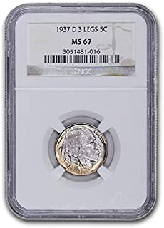1937 D 3 Legged Buffalo Nickel MS-67 NGC Nickel MS-67 NGC