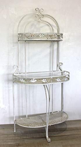 Keyhome scaffale in Ferro in Stile Vintage Shabby Chic - scaffale a Muro in Ferro battuto Bianco Etagere a 4 mensole Bagno Cucina Porta Piante - Altezza cm 155