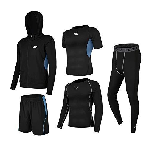 NCFBAG コンプレッションウェア セット スポーツウェア メンズ 長袖 半袖 抗菌防臭 吸汗 速乾 ランニングウェア スポーツtシャツ ジャージメンズ上下 3点/5点 運動着 スポーツうぇあ ハーフパンツ (黒&青 5点セット, XL)