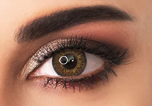 ADORE Farbige kontaktlinsen Lenses - TRI TONE - 3 Monaten- ohne Stärke + gratis Kontaktlinsenbehälte… (Braun)