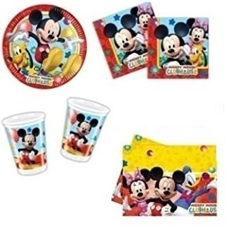 Cdc Set nr. 4 Party en Mickey Party (16 borden, 16 bekers, 20 servetten, 1 tafelkleed)