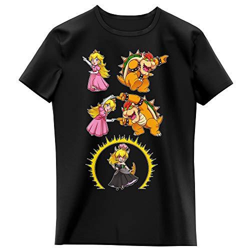 Okiwoki T-Shirt Enfant Fille Noir Parodie Super Mario - Princesse Peach, Bowser et Bowsette - Bowsette Fusion ! (T-Shirt Enfant de qualité Premium de Taille 11-12 Ans - imprimé en France)