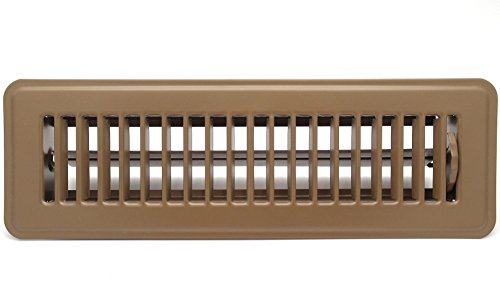 12 X 2 Floor Register with Louvered Design - Heavy Duty Rigid Floor Air Supply with Damper & Lever - Brown