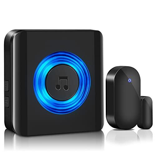 Wireless Door Chime - SGOKEEN Door Alarm Sensor Window Sensor Kit LED Indicator Alarm Contact Sensor Door Bell for Office/Home/Store with 600 ft Remote Range (1 Receivers + 1 sensor)