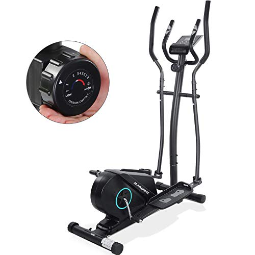 MaxKare Elliptical Machine for Home Use Magnetic Elliptical Exercise Machine Trainer Portable Elliptical with Flywheel Resistance Heavy Duty Extra-Large Pedal & LCD Monitor Quiet Smooth