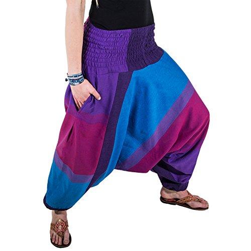 KUNST UND MAGIE Unisex orientalische Yoga Freizeit Haremshose, Farbe:Purple/Lila