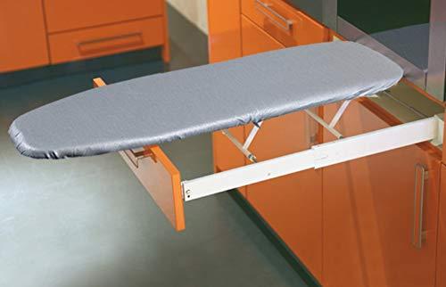 Strijkplank, inklapbaar, Ironfix premium strijkplank, overtrek Moderne opklapbare strijkplank. Bekleding zilverkleurig.