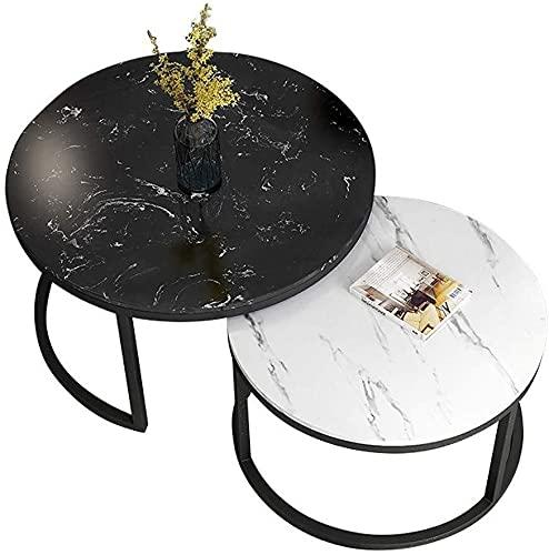 WSHFHDLC Mesa de centro Hjbh mesa auxiliar redonda mesa de café anidada moderna pequeña mesa de mármol para una elegante mesa de café conjunto cubículo 2 pequeñas mesas de café