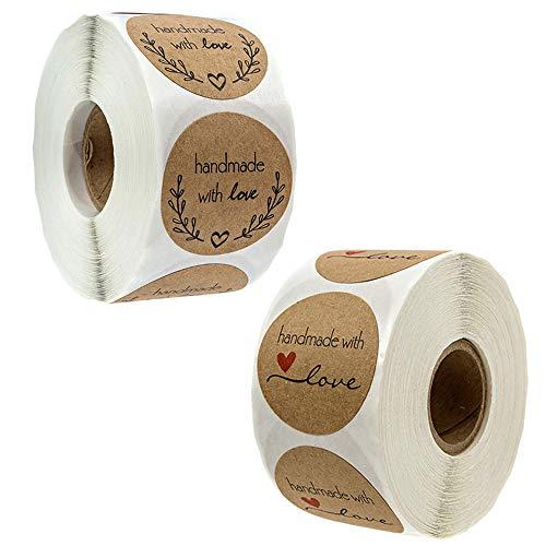 Guanici 2 Volumen Papel kraft natural redondo Adhesiva Etiquetas Redondas De Kraft Hecho a mano redondo con pegatinas de amor para DIY Hornear Bolsa de Regalo Pegatinas Decoraciones