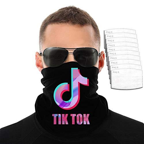 VOROY Tik Tok - Toalla facial con 6 filtros para escalada de montaña, protección facial, bufandas negras para amantes, 9.8 pulgadas x 19.7 pulgadas
