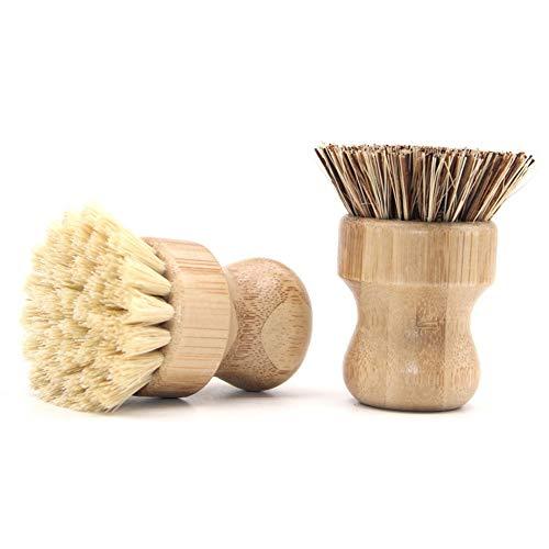 Hieefi Dish Brush, Cepillo De Rascar, Plato Friega El Cepillo De Bambú Cepillo De La Palma Ronda Cepillo De Limpieza para El Plato Sartenes Ollas Fregadero De Cocina