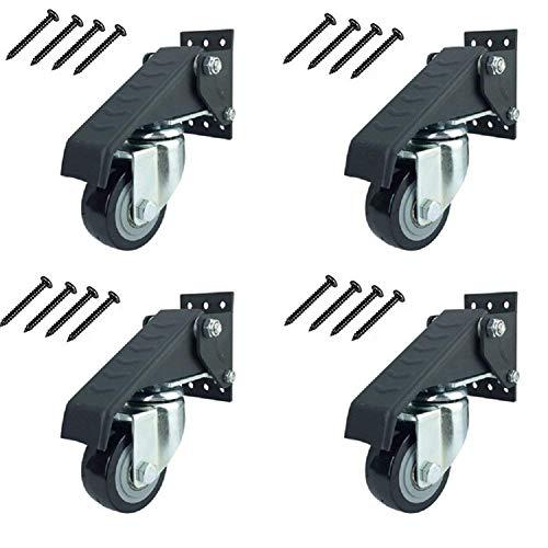 Sureh 4 x Werkbank-Rollen, robust, ausziehbar, Lenkrollen mit Sicherheitsverriegelung, Bremse, verstellbar, Polyurethan, langlebige Stahlkonstruktion, 4pcs, Schwarz , 4