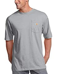 Carhartt Company Gear Collection 6.75 oz. 100% cotton jersey knit (heather Gray: 90% cotton/10% polyester; Ash 99% cotton/1% polyester) Rib-knit crewneck Side-seamed construction minimizes twisting