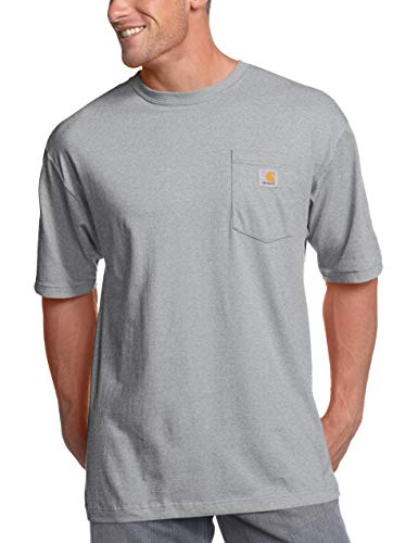 Carhartt Men's K87 Workwear Short Sleeve T-Shirt (Regular and Big & Tall Sizes), Heather Grey, Large
