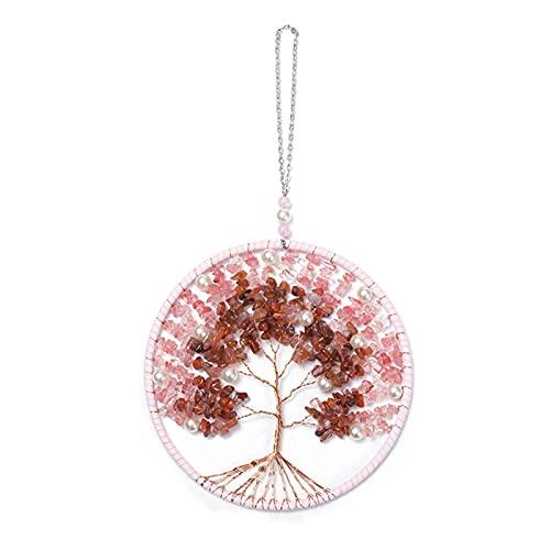 crazerop Campanas de viento de cristal con diseño de árbol de la vida para el jardín, carillón de viento para exteriores, atrapasueños decorativo hecho a mano para pared, ventana, jardín