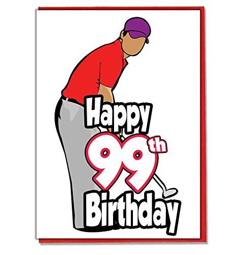 Golf/Golfer - 99e verjaardagskaart - mannen, zoon, kleinzoon, vader, broer, man, vriend, vriend