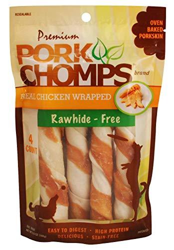 Scott Pet Pork Chomps 4CT Premium Real Chicken Wrapped Twists, Brown (DT907V)
