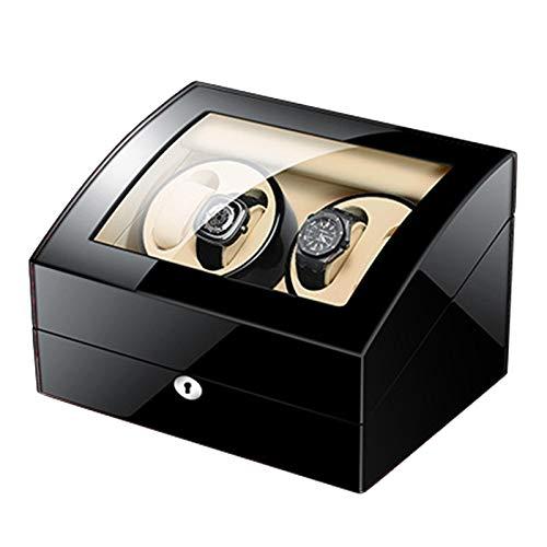 YZSHOUSE Caja Giratoria para Relojes para 4 Relojes + 6 Posición de Almacenamiento 5 Programas de Rotación Caja de Reloj Automático Caja de Almacenamiento