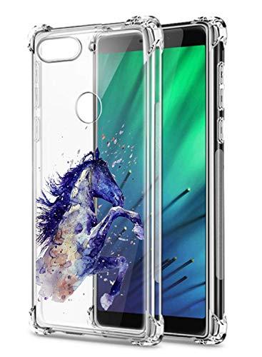 Oihxse Funda Compatible con Huawei P9 Ultra Delgada Ligera Transparente Silicona TPU Gel Suave Carcasa Elegante Patrón Anti-Rasguño Protector Caso-Caballo