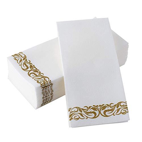 TOYANDONA 50 Piezas de Oro Floral Toallas de Mano Desechables Impresas Fiesta de cumpleaños servilleta baño Toallas de Papel para Invitados decoración de la Boda (40x30cm)