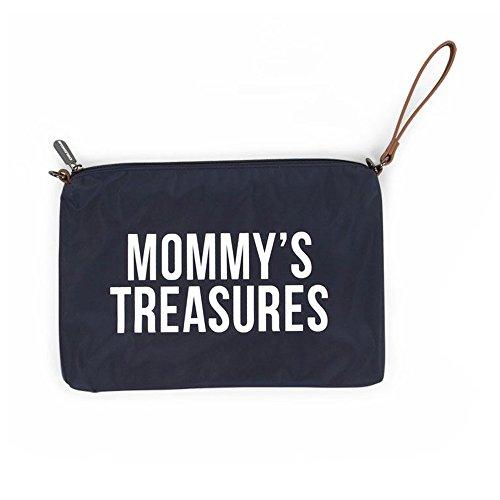 Childhome Praktische Tasche Umhängetasche mit langen und kurzem Ledergurt 33 x 23 cm passend zu Mommy Bag blau
