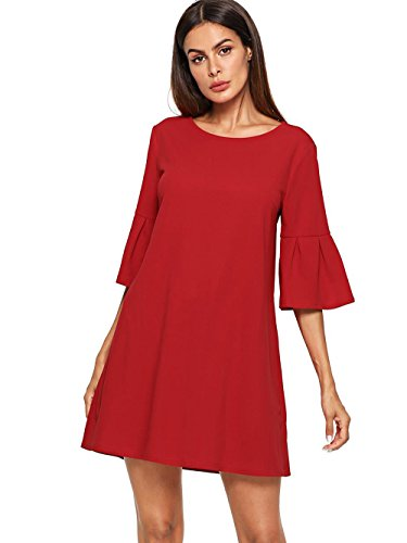 Floerns Women's Bell Sleeve Embroidered Tunic Dress Red S