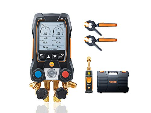 Testo 557s Kit I App Operated Digital Manifold, 2 x 115i Pipe Clamp Thermometer, 1 x 552i Micron Gauge I for HVAC Systems – with Bluetooth