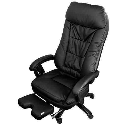 @tec Tiga Deluxe Bürostuhl mit Massagefunktion, Shiatsu Chefsessel, Relax Bürosessel mit kräftigen Massage, Druckpunktmassage mit 4 rotierenden Massageköpfen, Drehstuhl-Kunstleder schwarz
