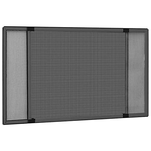 Festnight Mosquitera Extensible/Easy Slide para Ventanas y Puertas con Railes de Persiana Enrollable Gris Antracita (75-143) x50 cm